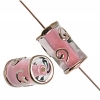 Glass Lamp Bead 16x8mm Tubes Crystal/Opaque Pink/Bronze